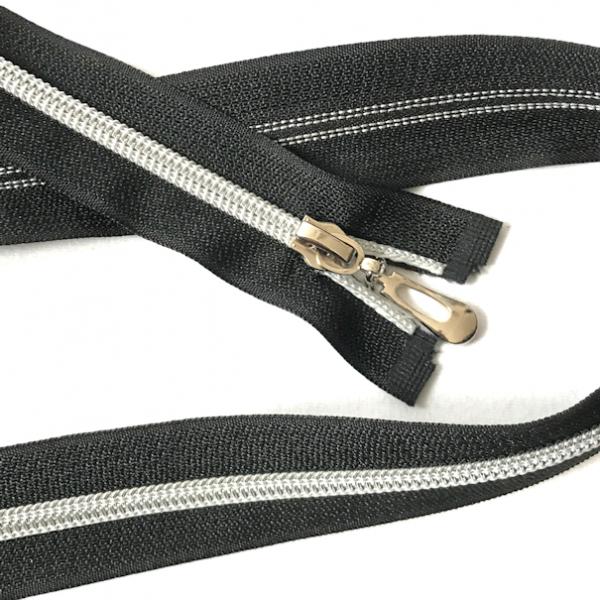 Teilbarer Reißverschluss, 75cm, schwarz, silberne Laufschiene